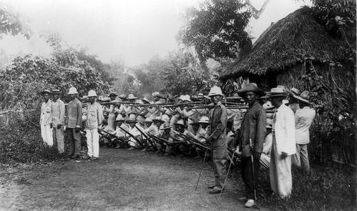 Filipino soldiers outside of Manila, 1898