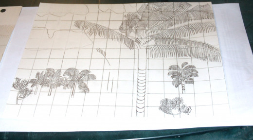 The palm trees I am drawing in the distance are becoming a bit more distinct in this phase of the sketch.