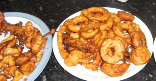 Dinner with homemade onion rings