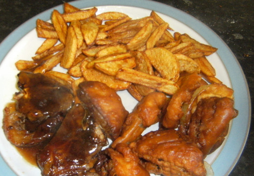 Homemade chips, lamb chops and onion rings