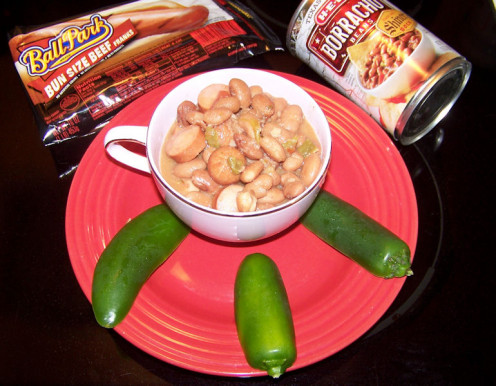 Are you a family of one? Try adding a chopped hot dog to your favorite can of beans. Great for lunch.