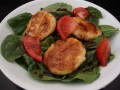 Fried Goat Cheese Over Spinach Salad