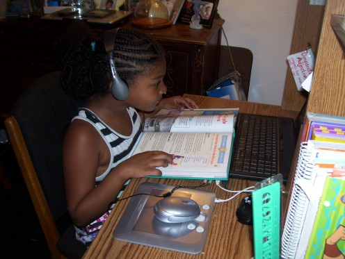 PA Cyber Student, hard at work. This student understands that the responsibility for success lies on her.