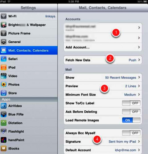 Push setting would automatically push received data to your iPad. However, if you are in a pre-paid plan, make sure to customize settings for fetching data. It is best to minimize data plan usage. There is also a settings for manual fetching.