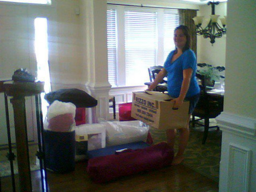 Freshman Heather getting ready to load up car.