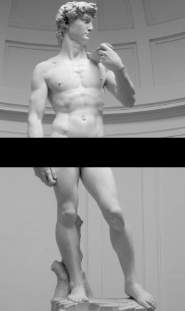 Even Michelangelo's David, a classic portrayal of male beauty stands with a straight back and with legs apart.