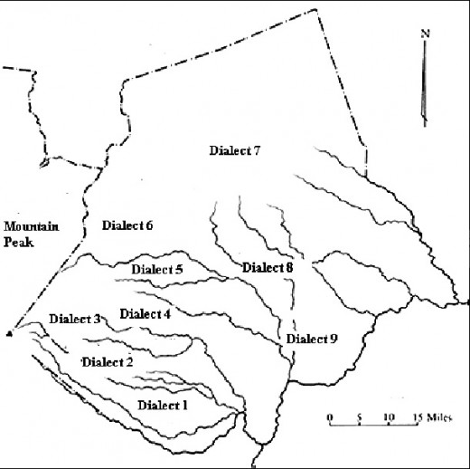 Mount Kenya - The separation of Meru people by rivers on a mountainous area in formation of 9 different dialects in a radius less than 100 kilometers