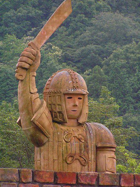 A modern-day haniwa statue at the Himeji Central Park in Himeji, Hyōgo Prefecture, Japan.