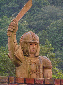 A modern-day haniwa statue at the Himeji Central Park in Himeji, Hyōgo Prefecture, Japan.