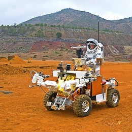 Mars colonist-to-be Jacob Scott test drives a vehicle near Grand Canyon Village in Arizona.