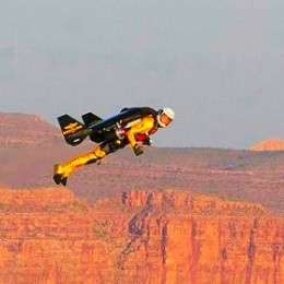 Mars pioneer Ron Grigio tests a jetpack in the Grand Canyon.