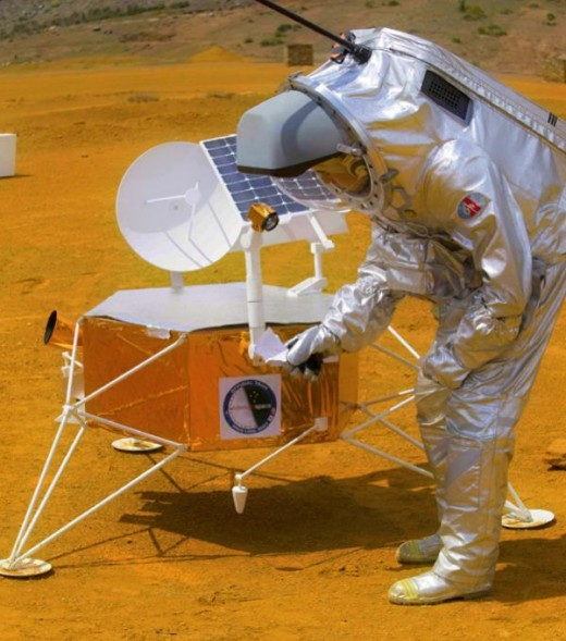 Future Mars pioneer Elaine Scott tinkers with a Mars lander in the Arizona desert.