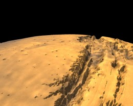 Mariner Valley on Mars is ten times longer than the Grand Canyon. From end to end it's about the distance from Los Angeles to New York City.