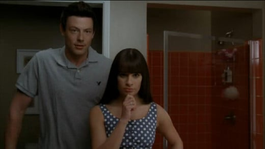 "Finn helps Rachel practice her faces, including ""Presidential."""