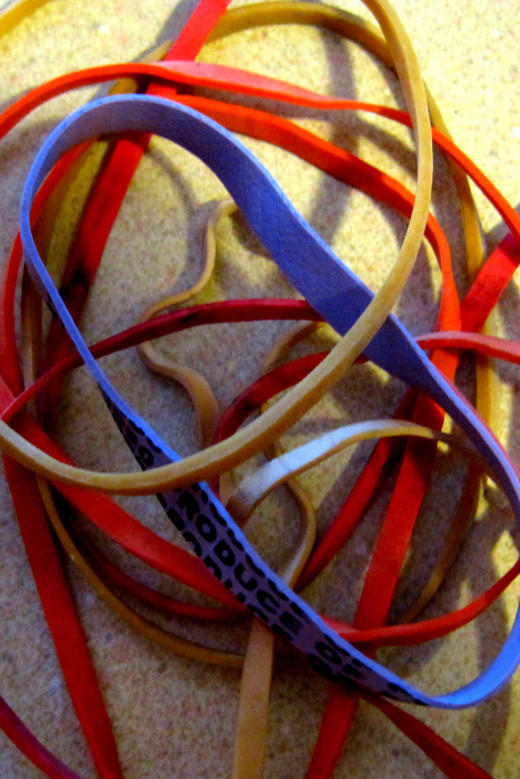 Pile of used rubber bands.