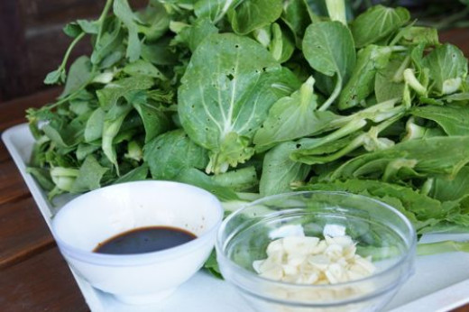 stir fry pak choi, ingredients