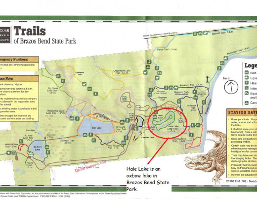 Map shows the location of Hale lake,  an oxbow lake, in Bazos Bend State Park.