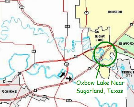 A close up or the above map, showing the location of an oxbow lake in the Sugar Land, Texas area