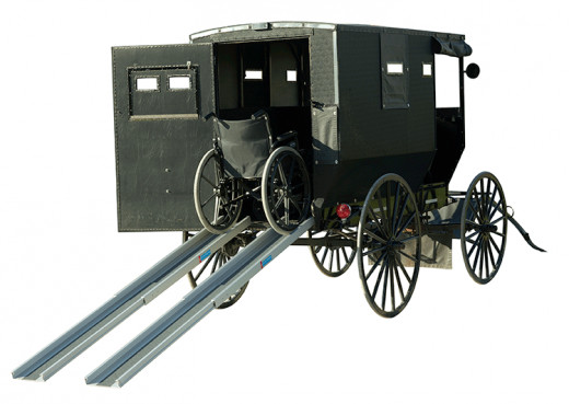 Used by the Amish to transport into a wagon or buggy.