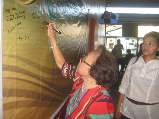 Ms. Naty Ferrer of Mediation and Conciliation Committee writing on DGCC  Wall