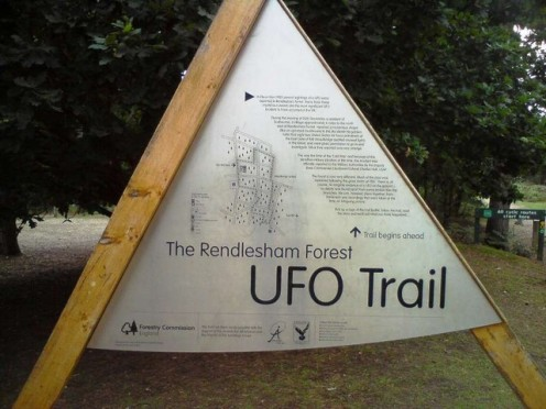 "The trail commemorates the ""Rendlesham Forest Incident"" in Suffolk, UK."