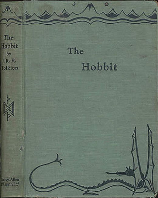 This is the front cover art for the book The Hobbit written by J. R. R. Tolkien. The book cover art copyright is believed to belong to the publisher, George Allen & Unwin or the cover artist, J. R. R. Tolkien.