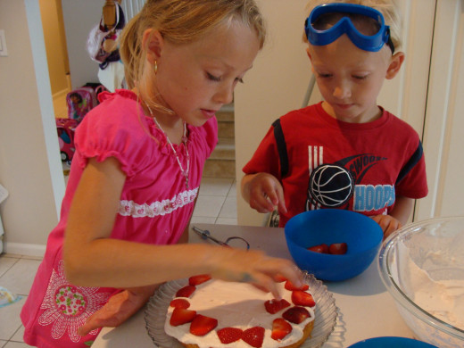 Adding the strawberries is a great part for kids to help with.