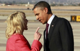 Arizona's Governor, Jan Brewer, scolding Obama over immigration in her state.
