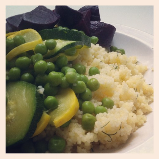 Lemon, Dill, and Garlic Couscous with steamed veggies and roasted beets