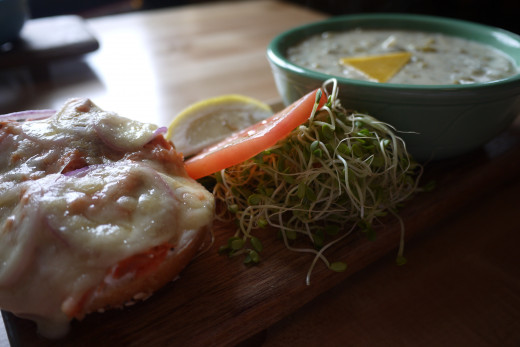 Yummy smoked salmon melt and cream of broccoli soup at the Colophon Cafe!!