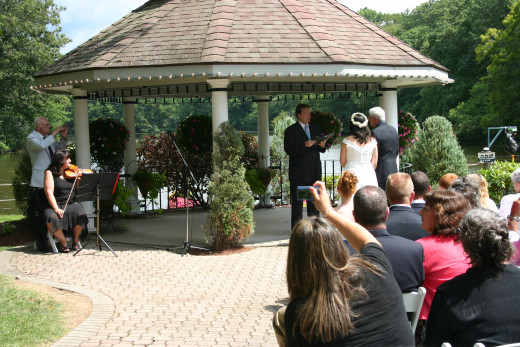 The wedding ceremony at the gazebo.