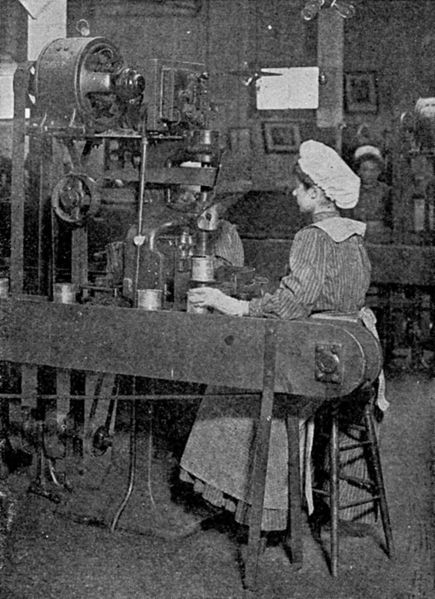 Female worker in an H. J. Heinz can factory crimping can ends onto cans before 1909. Some factory jobs have been lost over the decades.