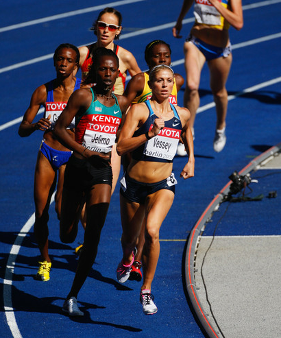(L-R) Pamela Jelimo of Kenya and Maggie Vessey of USA compete in past championships