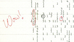 This is a photocopy of the original computer printout where Ehman wrote Wow! on the side and circled the signal.