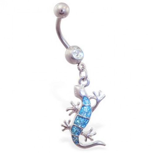Belly ring with dangling aqua glitter lizard