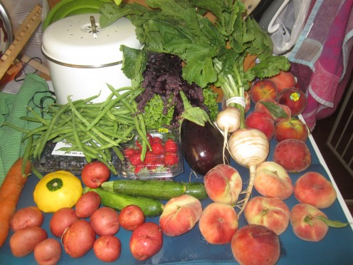 Organic and locally grown fruits, vegetables, herbs, and flowers that can be delivered weekly to your house....