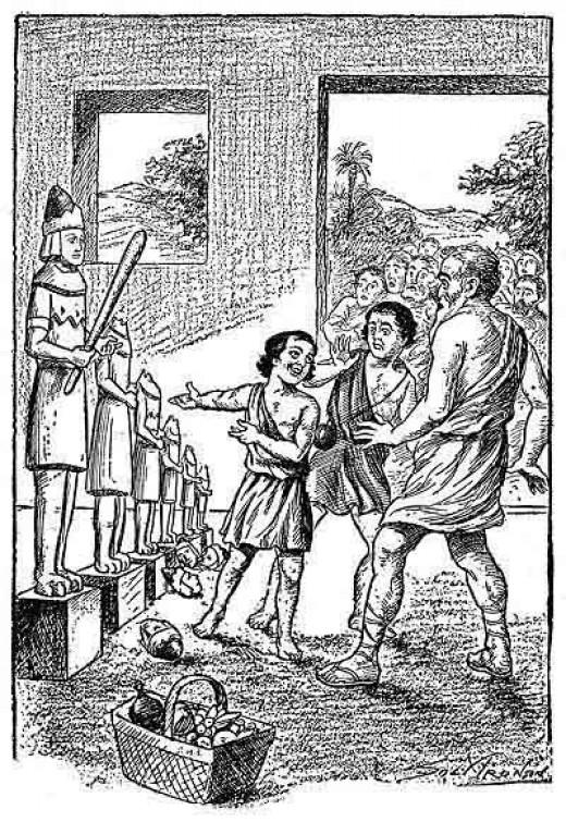 Abraham as a child smashing the idols