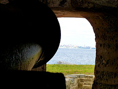 A view through the cannon opening.