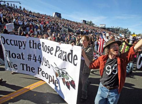 Occupy Protesters at the rose parade.