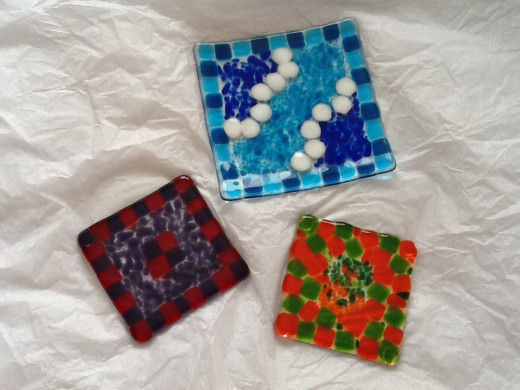 Glass coasters and dish we made at CreativiTea.
