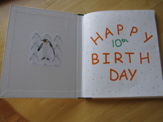 We decorated the inside cover and front page with some favorite animals and a Birthday message.