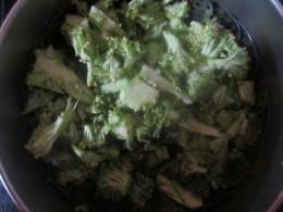 Steam chopped broccoli.
