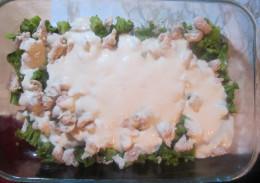 Spread liquid mix over broccoli and chicken.