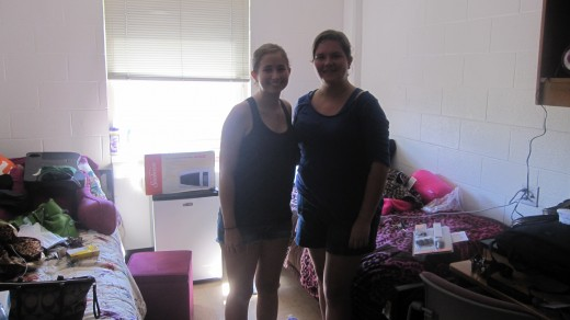 Moving in day.. My roommate and I alone with those horrible white walls.