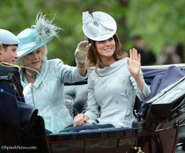 Kate in Silver Grey Erdem dress and Jane Corbett hat.