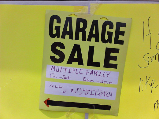 Make sure to use bright colors for your Garage Sale signs. Include an arrow pointing in the correct direction at every turn.