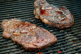 These steaks are not just any plain old BBQ; they have a delicious MUSTARD-Q slathered over them for a unique grilled flavor experience.