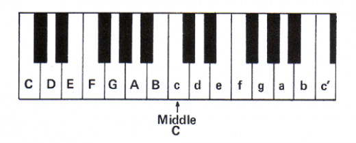 Here are the notes of the piano keyboard labelled