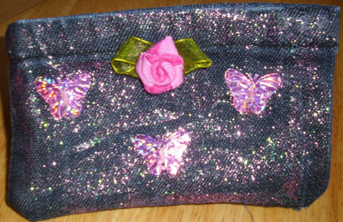 Embroidered cellphone/lipstick purse for special event with cloth rose flower, butterflies sequins and glitters glue.