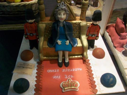 A marzipan Queen Elizabeth in honor of her Jubilee